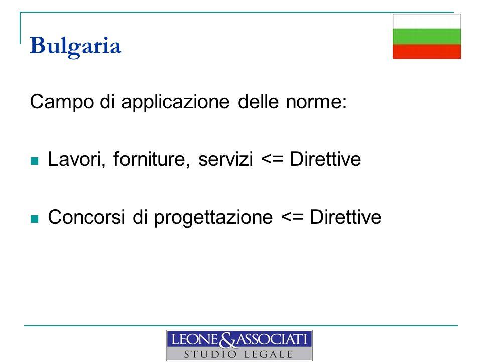 Bulgaria Campo di applicazione delle norme: