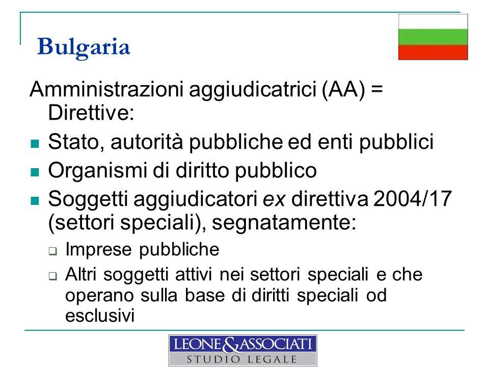 Bulgaria Amministrazioni aggiudicatrici (AA) = Direttive:
