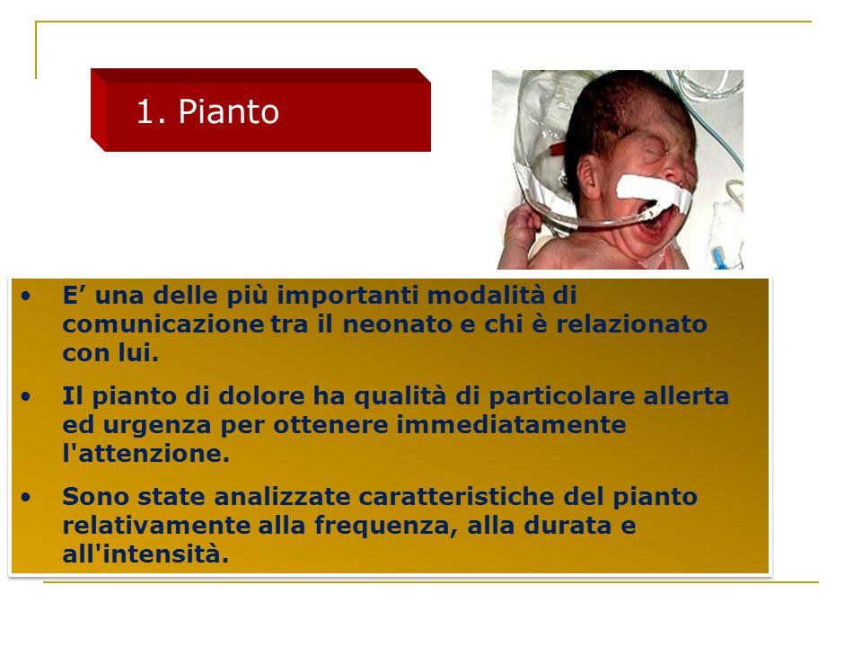 Pianto E' una delle più importanti modalità di comunicazione tra il neonato e chi è relazionato con lui.