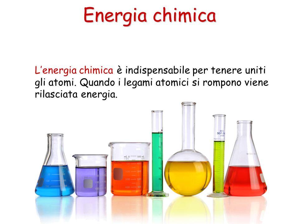 Energia chimica L'energia chimica è indispensabile per tenere uniti gli atomi.