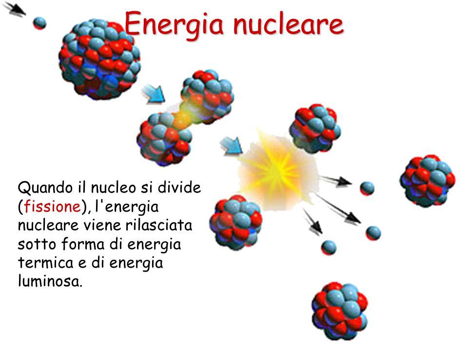 Energia nucleare Quando il nucleo si divide (fissione), l energia nucleare viene rilasciata sotto forma di energia termica e di energia luminosa.