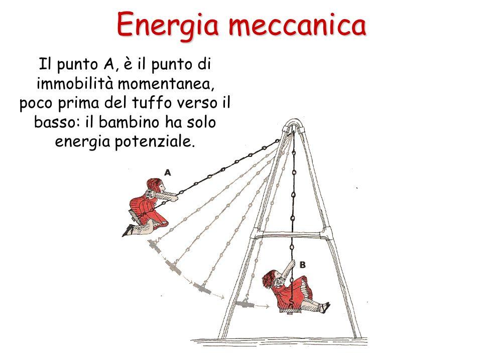 Energia meccanica Il punto A, è il punto di immobilità momentanea, poco prima del tuffo verso il basso: il bambino ha solo energia potenziale.