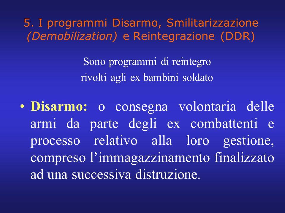 5. I programmi Disarmo, Smilitarizzazione (Demobilization) e Reintegrazione (DDR)