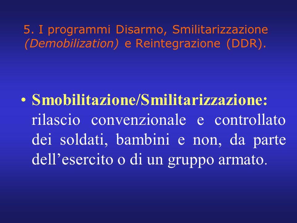 5. I programmi Disarmo, Smilitarizzazione (Demobilization) e Reintegrazione (DDR).