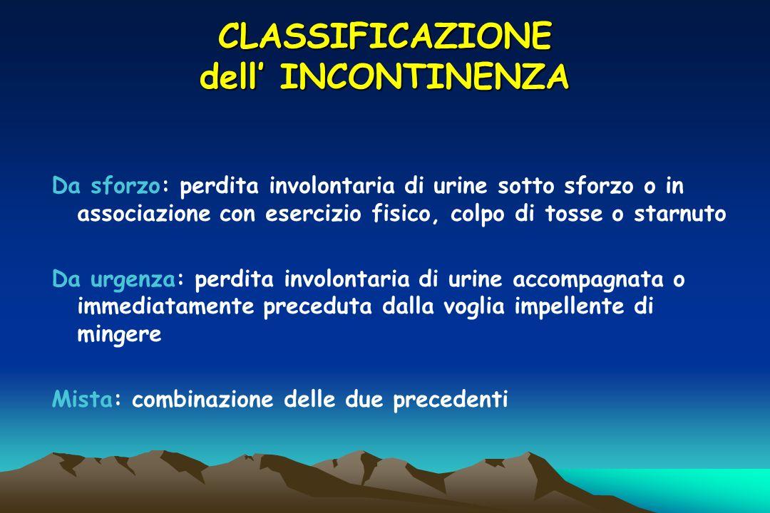 CLASSIFICAZIONE dell' INCONTINENZA