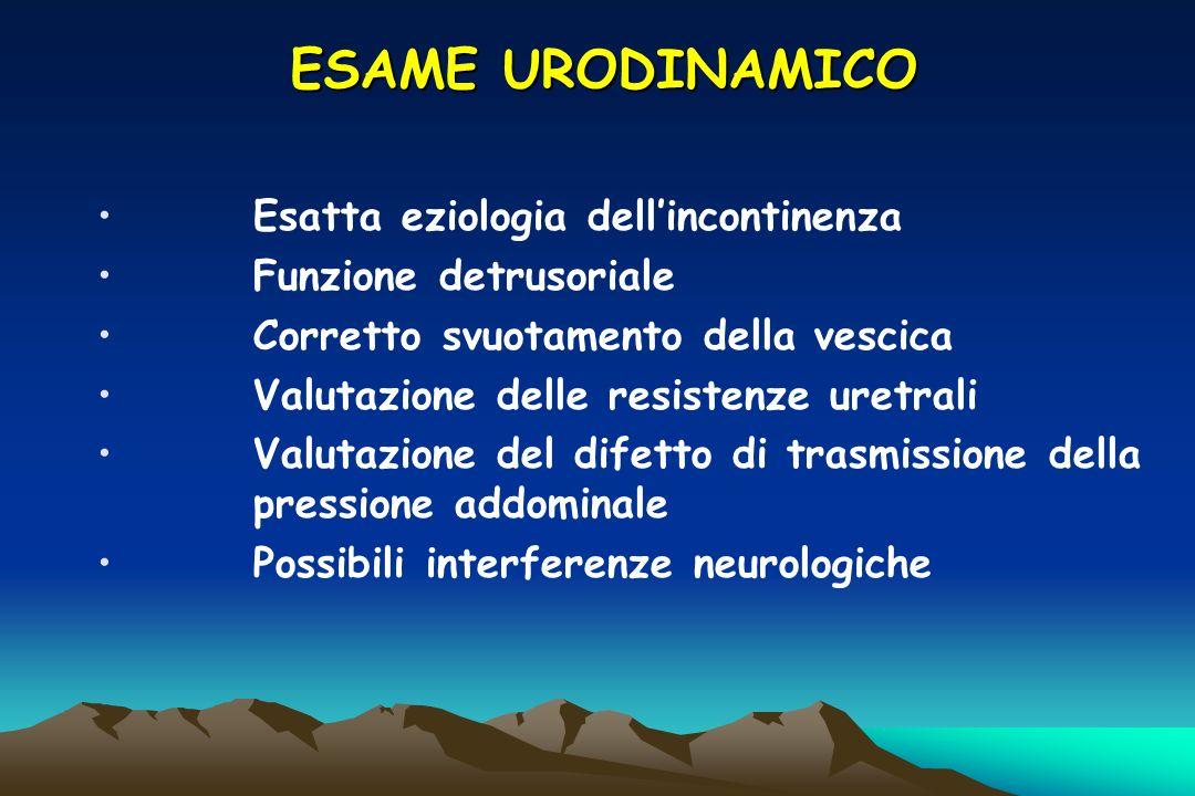ESAME URODINAMICO Esatta eziologia dell'incontinenza