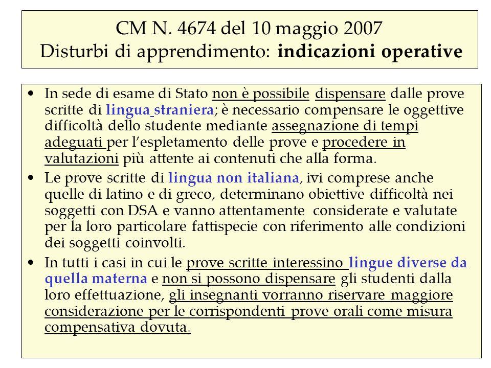 CM N. 4674 del 10 maggio 2007 Disturbi di apprendimento: indicazioni operative