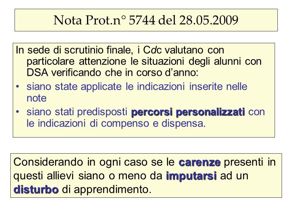 Nota Prot.n° 5744 del 28.05.2009