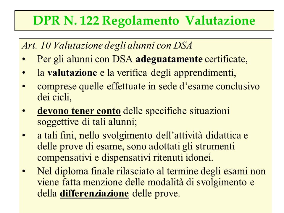 DPR N. 122 Regolamento Valutazione
