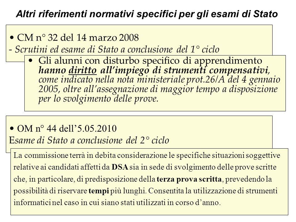 Altri riferimenti normativi specifici per gli esami di Stato