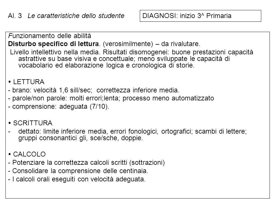 Al. 3 Le caratteristiche dello studente. DIAGNOSI: inizio 3^ Primaria. Funzionamento delle abilità.
