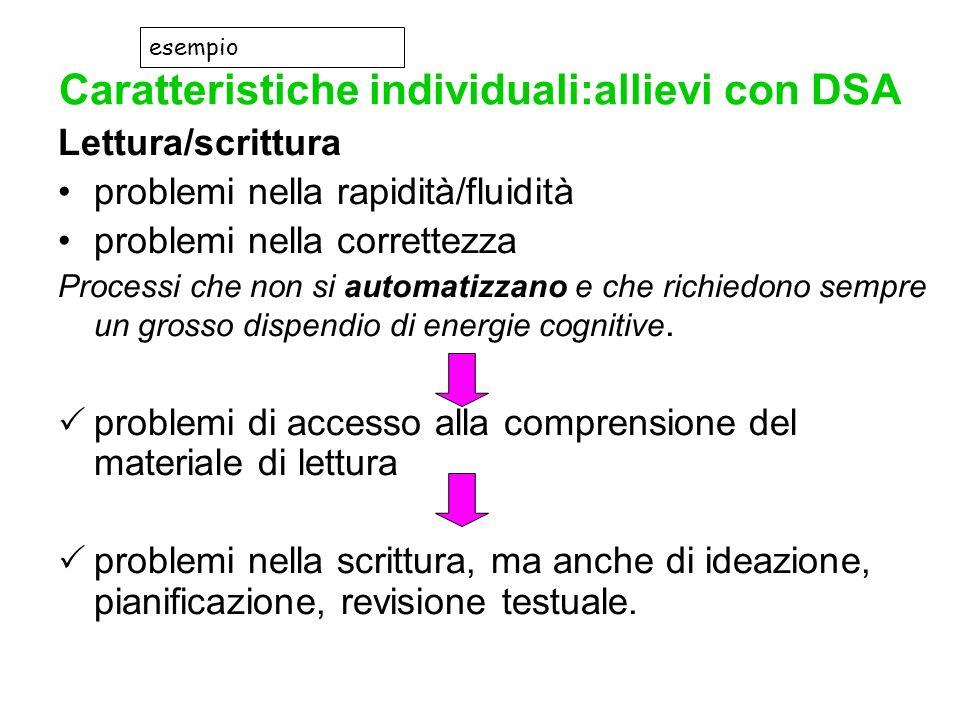 Caratteristiche individuali:allievi con DSA