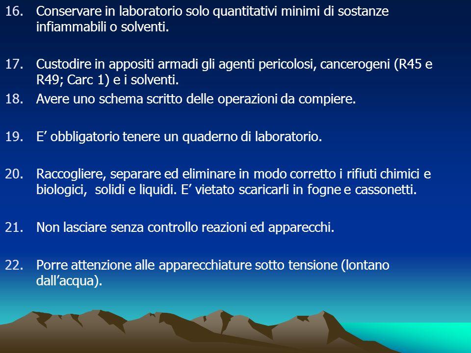 Conservare in laboratorio solo quantitativi minimi di sostanze infiammabili o solventi.