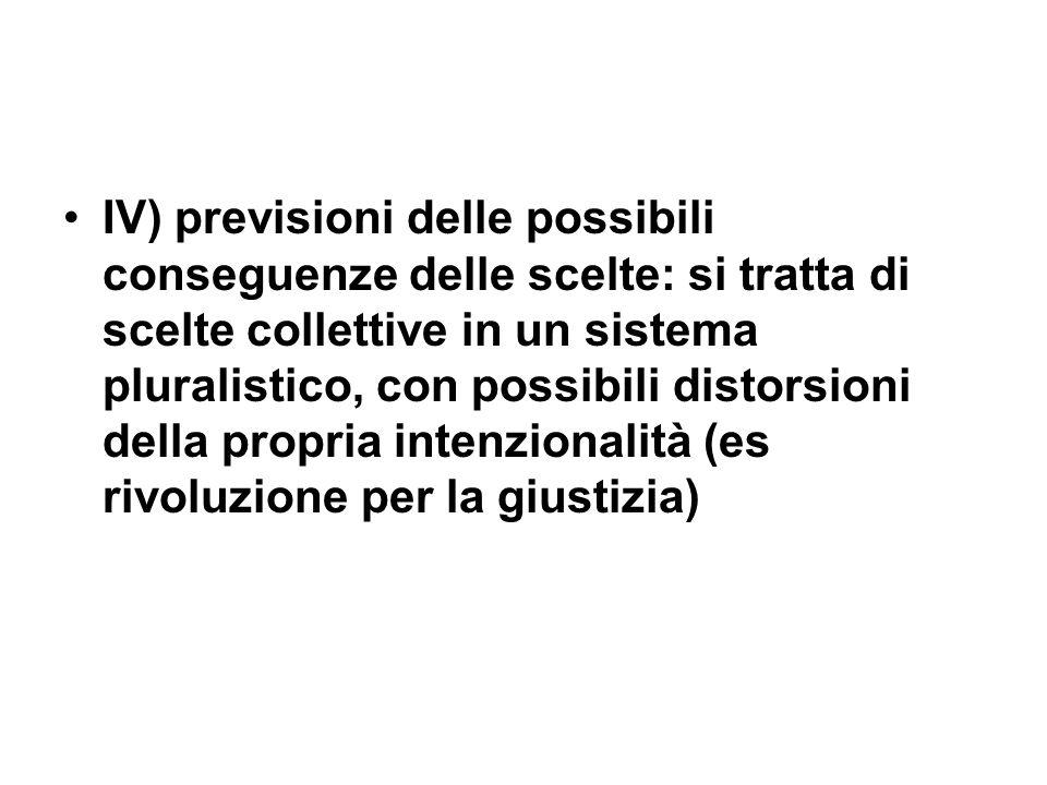 IV) previsioni delle possibili conseguenze delle scelte: si tratta di scelte collettive in un sistema pluralistico, con possibili distorsioni della propria intenzionalità (es rivoluzione per la giustizia)