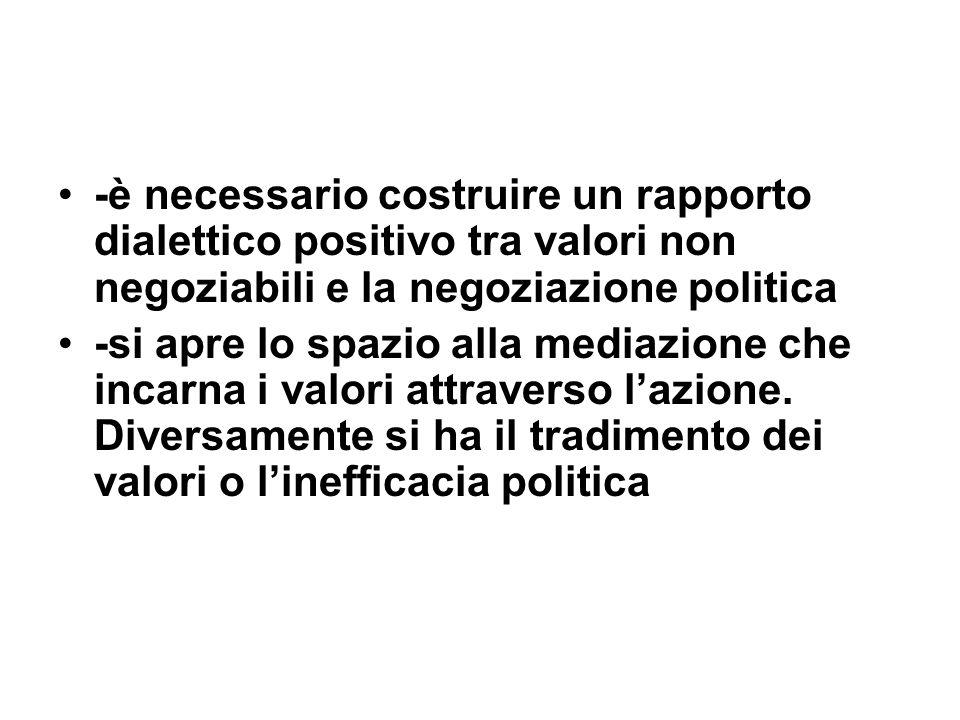 -è necessario costruire un rapporto dialettico positivo tra valori non negoziabili e la negoziazione politica