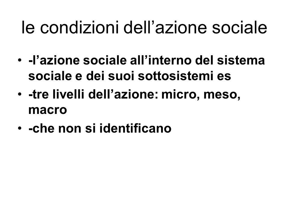 le condizioni dell'azione sociale