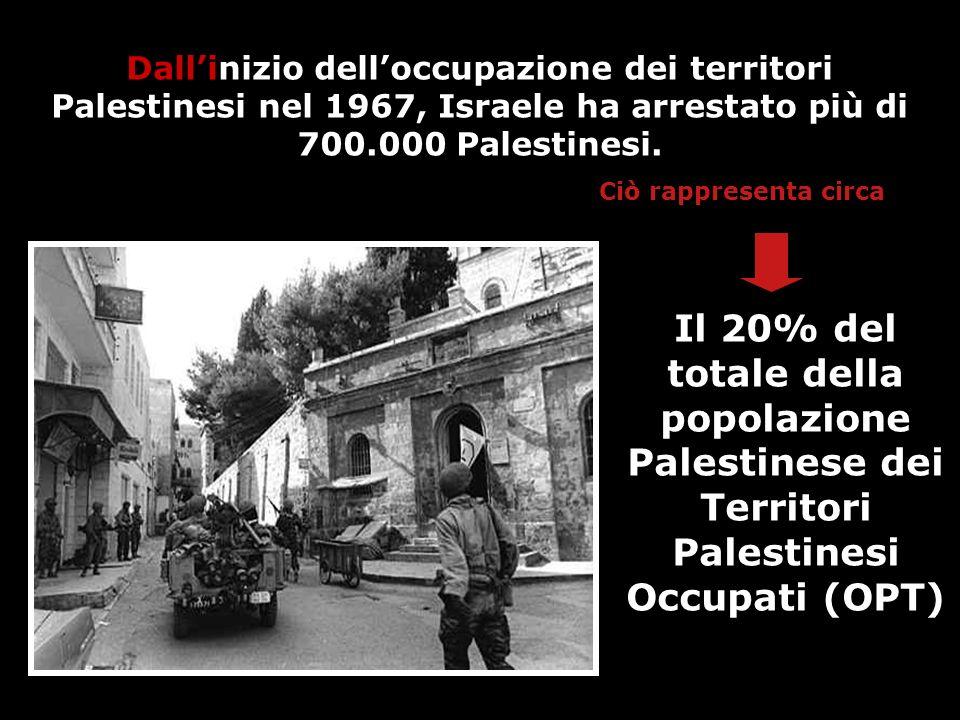 Dall'inizio dell'occupazione dei territori Palestinesi nel 1967, Israele ha arrestato più di 700.000 Palestinesi.