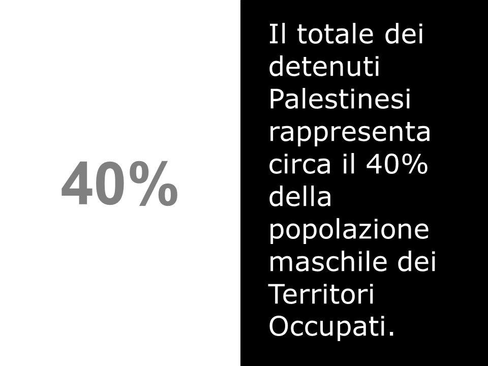 Il totale dei detenuti Palestinesi rappresenta circa il 40% della popolazione maschile dei Territori Occupati.