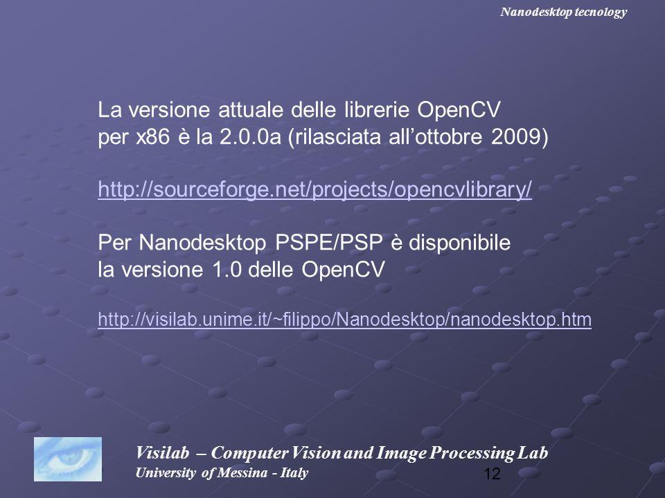 La versione attuale delle librerie OpenCV