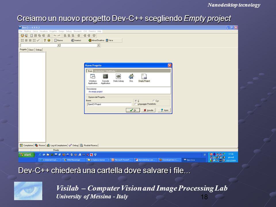 Creiamo un nuovo progetto Dev-C++ scegliendo Empty project