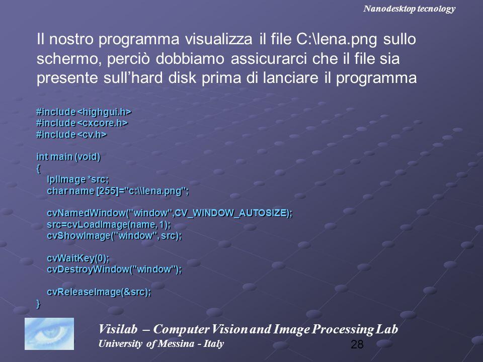 Il nostro programma visualizza il file C:\lena.png sullo