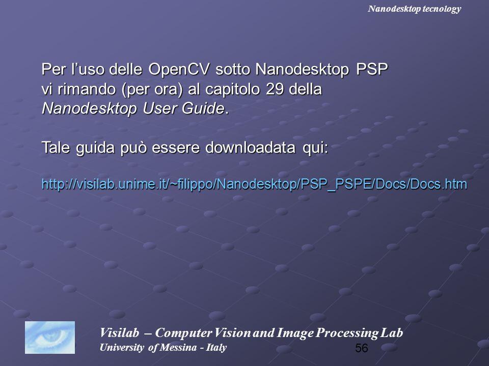 Per l'uso delle OpenCV sotto Nanodesktop PSP