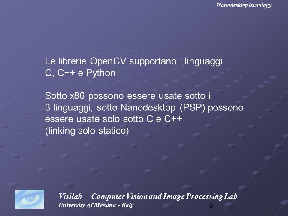 Le librerie OpenCV supportano i linguaggi C, C++ e Python