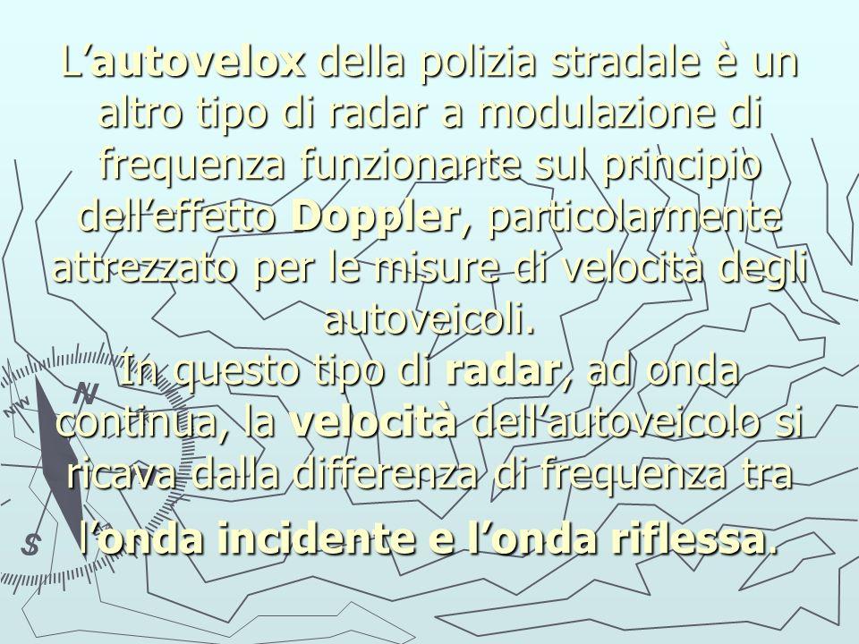 L'autovelox della polizia stradale è un altro tipo di radar a modulazione di frequenza funzionante sul principio dell'effetto Doppler, particolarmente attrezzato per le misure di velocità degli autoveicoli.