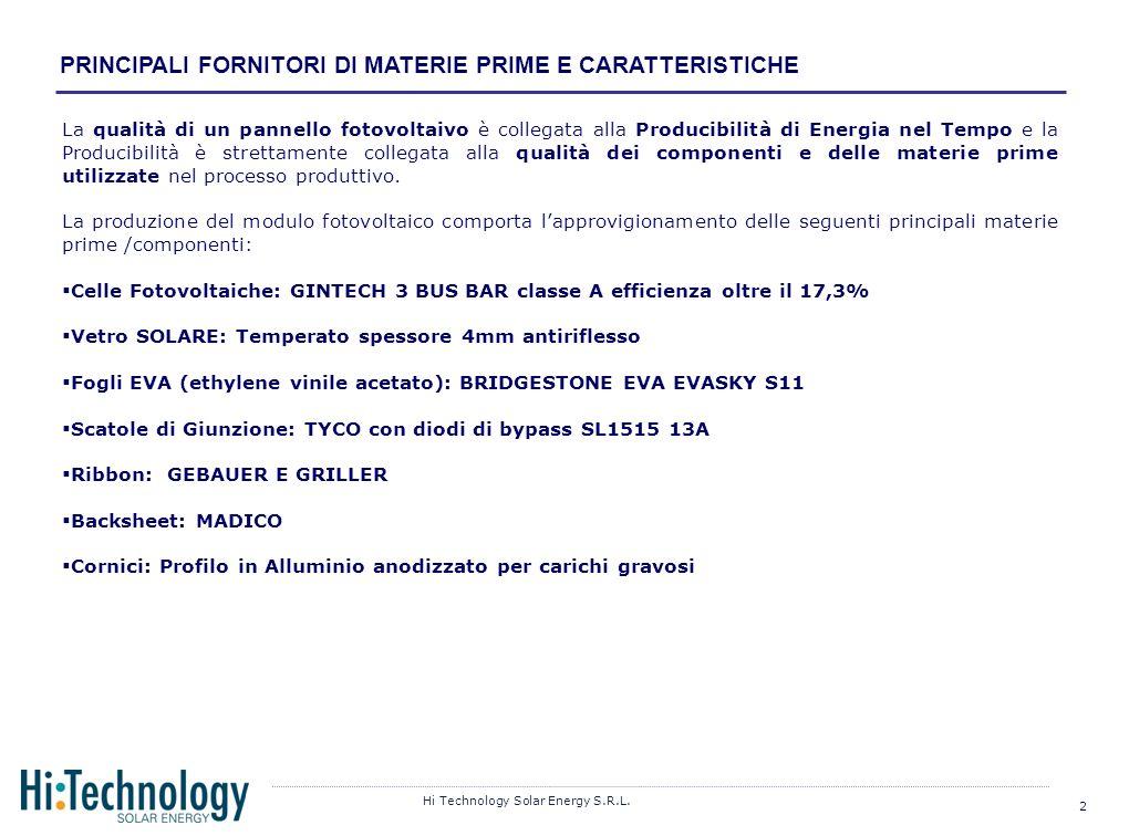 PRINCIPALI FORNITORI DI MATERIE PRIME E CARATTERISTICHE
