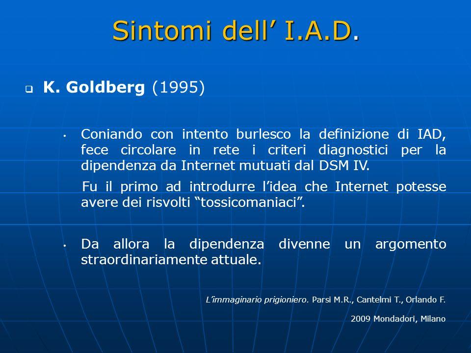 Sintomi dell' I.A.D. K. Goldberg (1995)