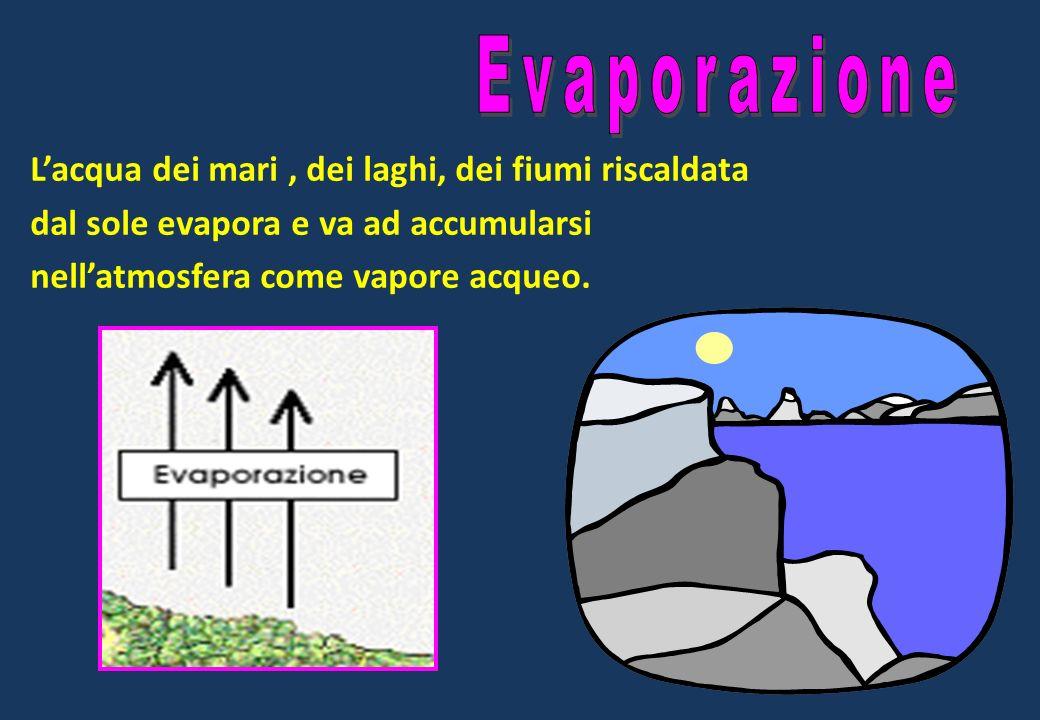 Evaporazione L'acqua dei mari , dei laghi, dei fiumi riscaldata