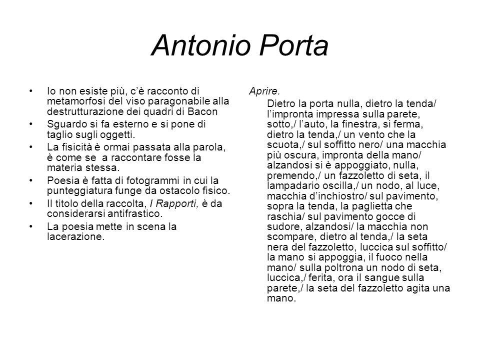 Antonio Porta Io non esiste più, c'è racconto di metamorfosi del viso paragonabile alla destrutturazione dei quadri di Bacon.