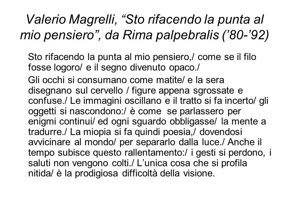Valerio Magrelli, Sto rifacendo la punta al mio pensiero , da Rima palpebralis ('80-'92)