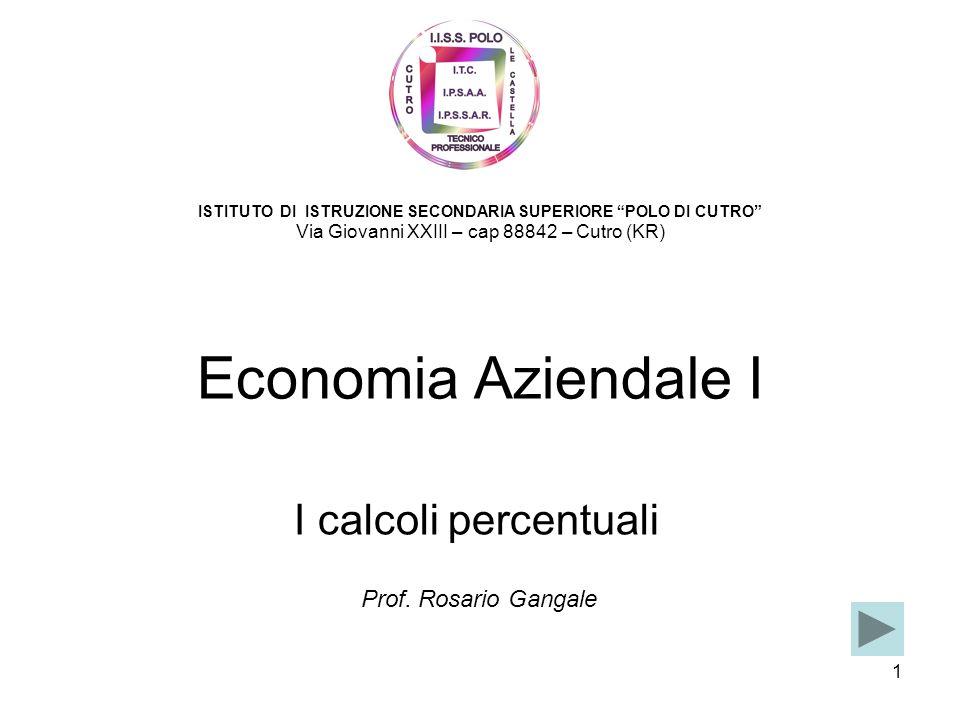 Economia Aziendale I I calcoli percentuali Prof. Rosario Gangale