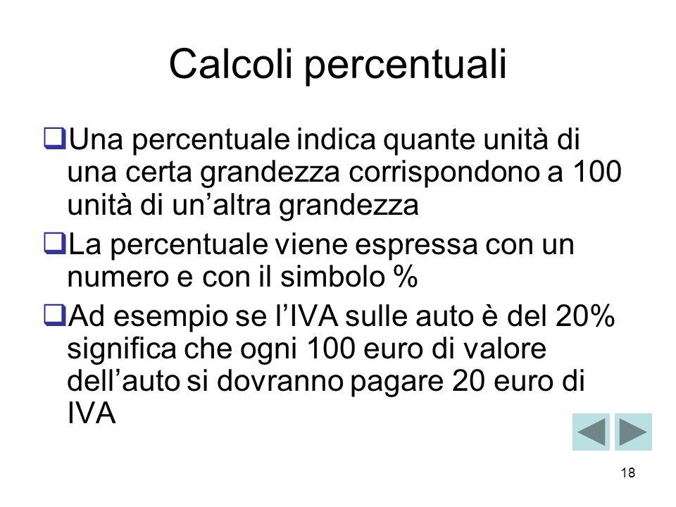 Calcoli percentuali Una percentuale indica quante unità di una certa grandezza corrispondono a 100 unità di un'altra grandezza.
