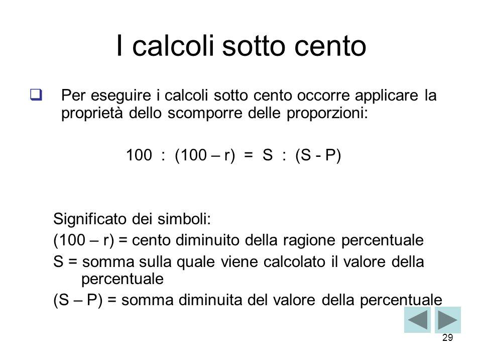 I calcoli sotto cento Per eseguire i calcoli sotto cento occorre applicare la proprietà dello scomporre delle proporzioni: