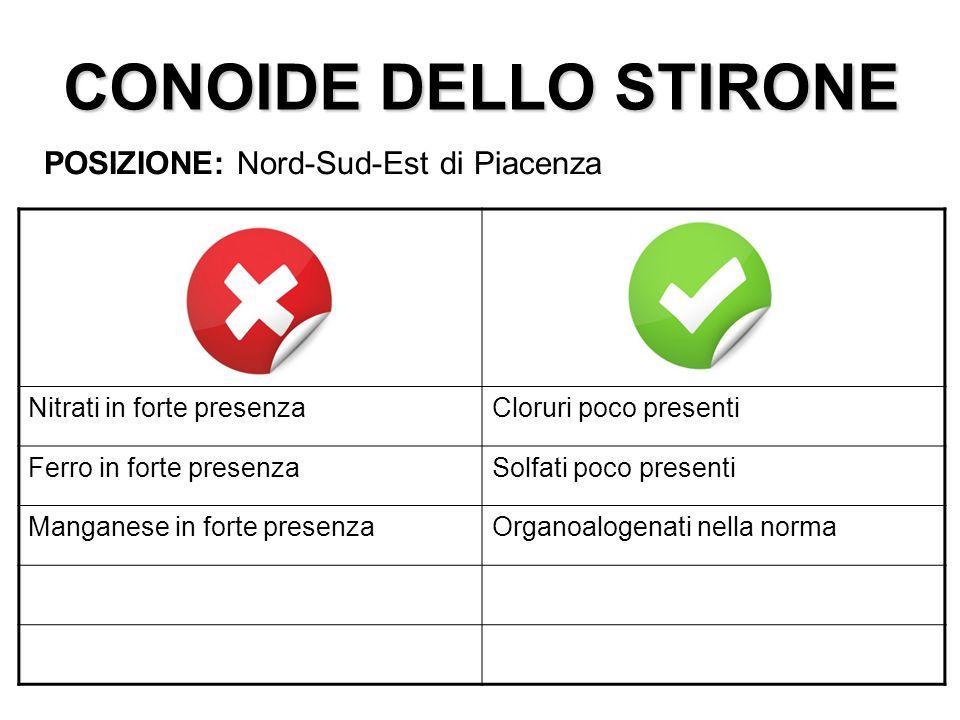 CONOIDE DELLO STIRONE POSIZIONE: Nord-Sud-Est di Piacenza
