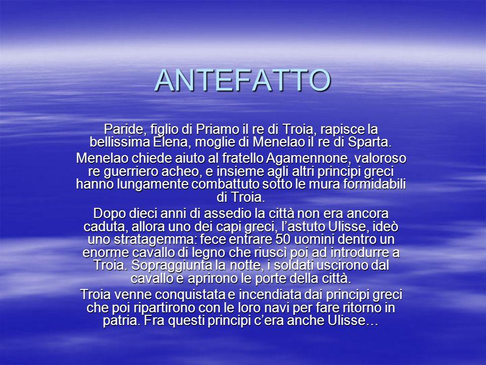 ANTEFATTO Paride, figlio di Priamo il re di Troia, rapisce la bellissima Elena, moglie di Menelao il re di Sparta.