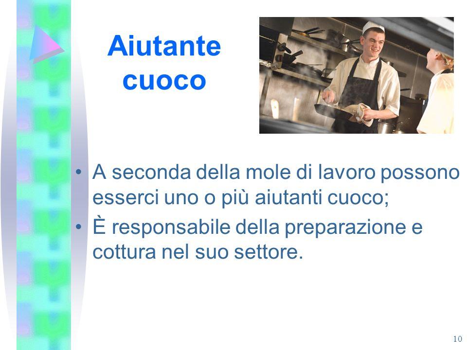Aiutante cuoco A seconda della mole di lavoro possono esserci uno o più aiutanti cuoco; È responsabile della preparazione e cottura nel suo settore.