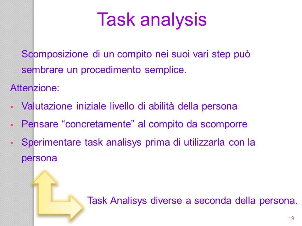 Task Analisys diverse a seconda della persona.