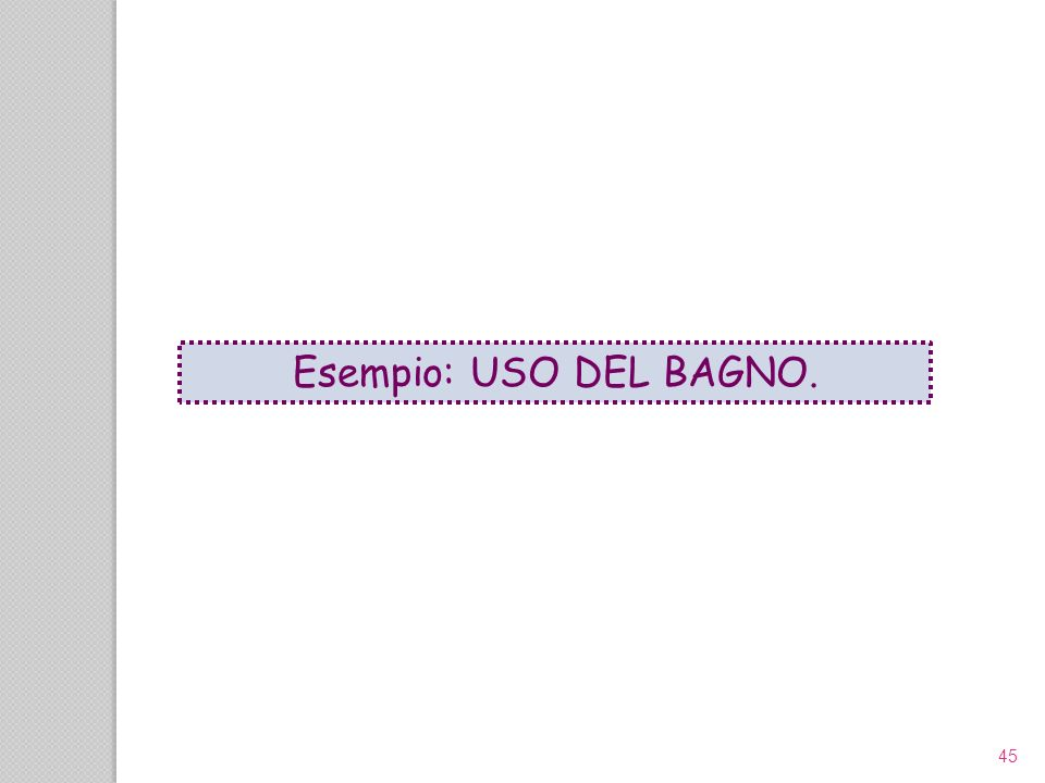 Esempio: USO DEL BAGNO. 45