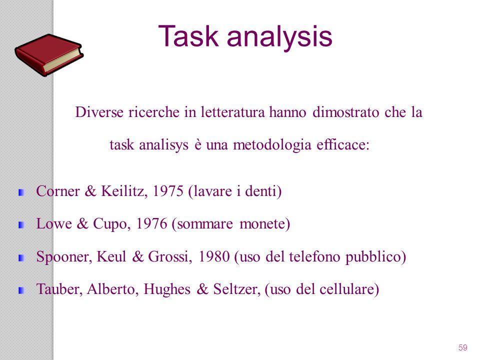 Task analysis Diverse ricerche in letteratura hanno dimostrato che la