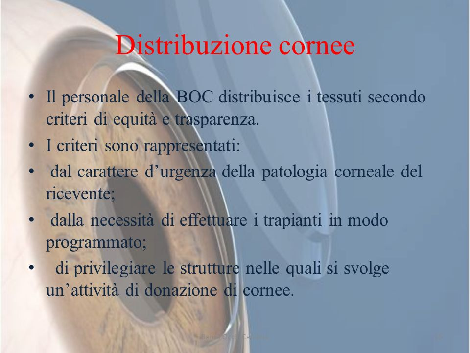 Distribuzione cornee Il personale della BOC distribuisce i tessuti secondo criteri di equità e trasparenza.