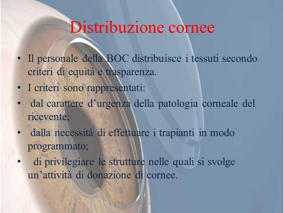 Distribuzione corneeIl personale della BOC distribuisce i tessuti secondo criteri di equità e trasparenza.
