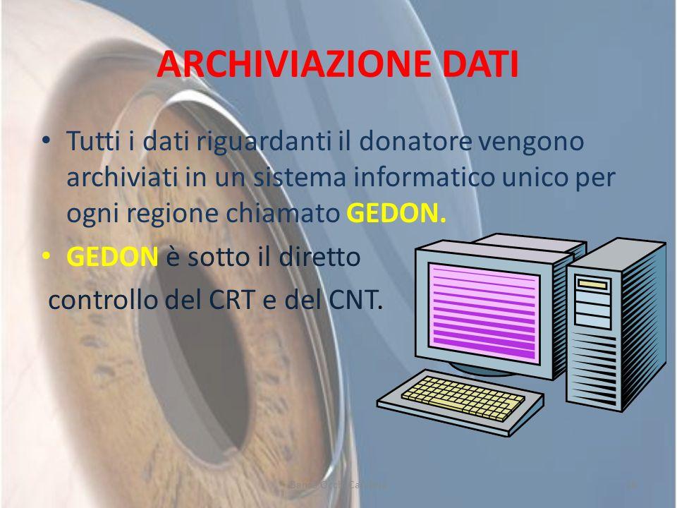 ARCHIVIAZIONE DATITutti i dati riguardanti il donatore vengono archiviati in un sistema informatico unico per ogni regione chiamato GEDON.