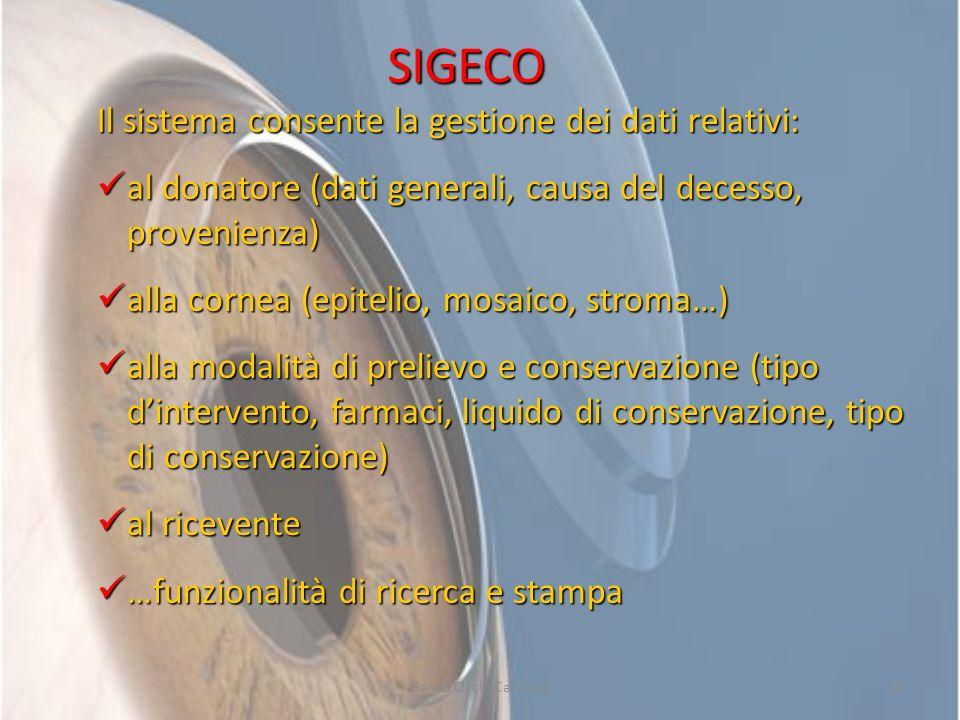SIGECO Il sistema consente la gestione dei dati relativi: