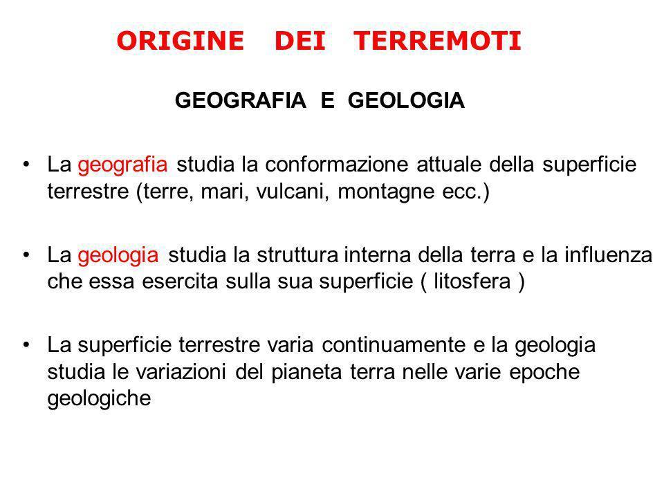 ORIGINE DEI TERREMOTI GEOGRAFIA E GEOLOGIA.