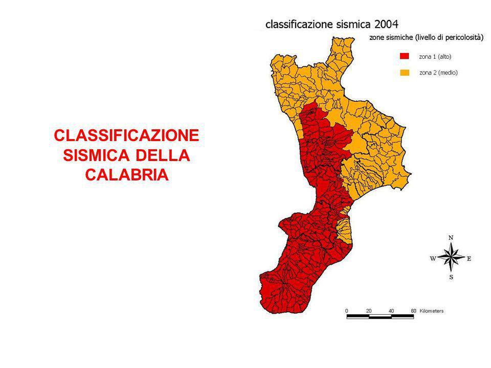 CLASSIFICAZIONE SISMICA DELLA CALABRIA