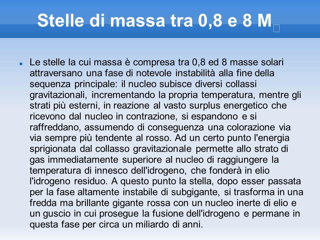 Stelle di massa tra 0,8 e 8 M☉