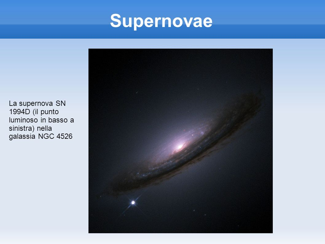 Supernovae La supernova SN 1994D (il punto luminoso in basso a sinistra) nella galassia NGC 4526